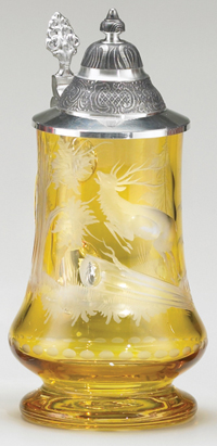 AMBER CARVED DEER GLASS STEIN