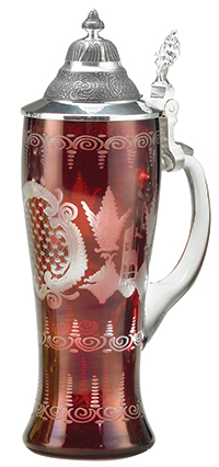 M  Cornell Importers, Inc  - Ruby Red Carved Crystal Glass Stein