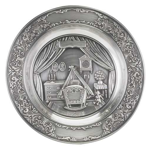 PEWTER BIRTH PLATE