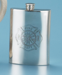 PEWTER FIREMAN'S FLASK