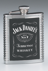 *JACK DANIEL'S STAINLESS STEEL RIBBED FLASK