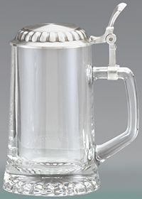 GLASS STARBOTTOM STEIN W/ REMOVABLE LID