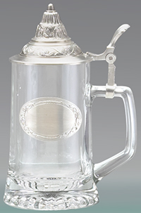 PEWTER EMBLEM GLASS STEIN W/REMOVABLE LID