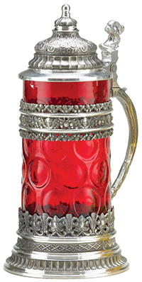 M  Cornell Importers, Inc  - Ruby Crystal and Pewter Glass Stein
