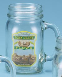 *JOHN DEERE PLOWS DRINK JAR
