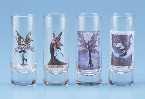*AMY BROWN SHOT GLASS - SET OF 4