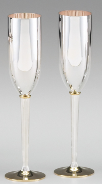 SILVER/GOLD PLATED GOBLET PAIR