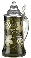 OLIVE CARVED VINEYARD GLASS STEIN