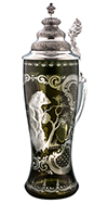 Emerald Tall Cut Glass Bear Stein