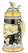 Fishing Bass Stein With Bass Lid