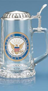 Navy Glass Stein