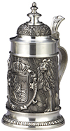 Pewter Stein Bayern with Conical Lid