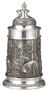 Pewter Stein Jagd with Conical Lid