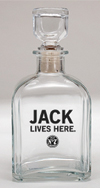 *JACK DANIEL'S JACK LIVES HERE GLASS DECANTER