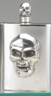 PEWTER SKULL FLASK