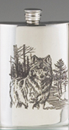 *JAMES MEGER PEWTER TIMBER WOLF FLASK