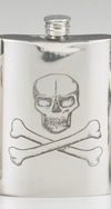 PEWTER SKULL/CROSSBONES FLASK