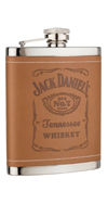 Jack Daniel's Stainless Steel Flask with Brown Leatherette Cover