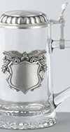 GLASS STEIN WITH PATRIOTIC EAGLE BADGE