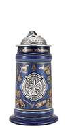 History of Firefighting Stein with Badge and Lid Figurine